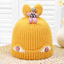Winter new big eyes star rabbit ear woollen hat 2018 thin plush male and female babies