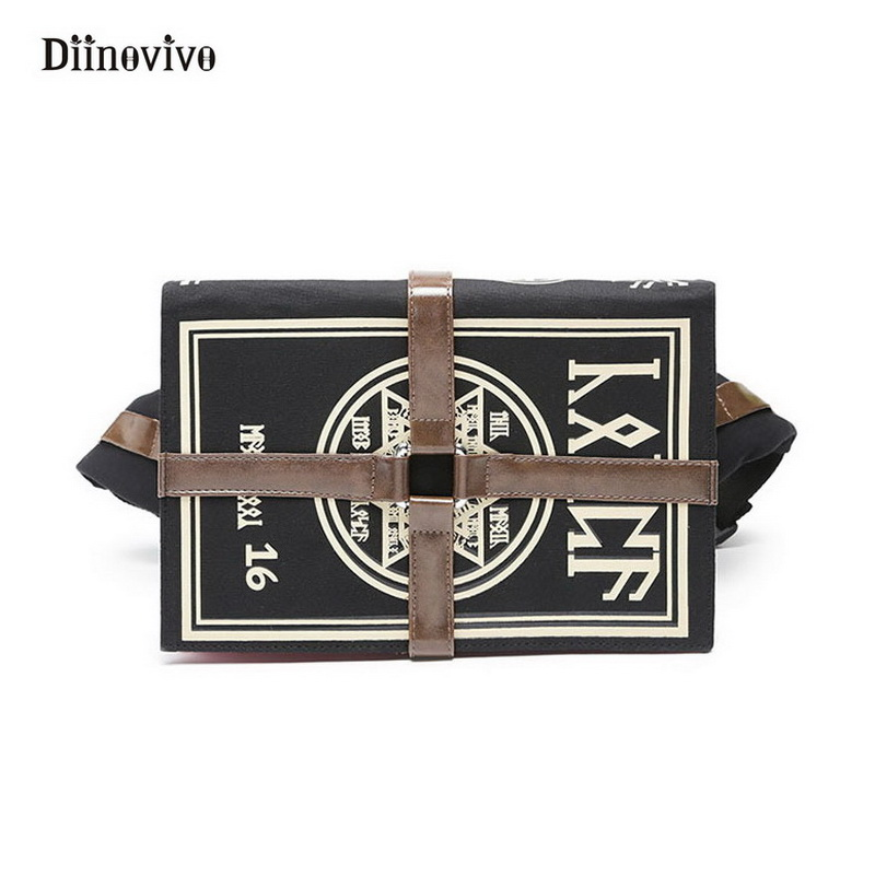 DIINOVIVO Anime Gothic Bag Magic Book Shape Crossbody Bag Unisex Punk Designer Chest Bag Retro Women Shoulder Bag Gifts WHDV0154