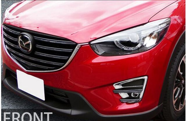 Auto front fog light cover lamp trim for Mazda cx-5  2015 2016 2017,ABS chrome,2pcs/lot,free shipping