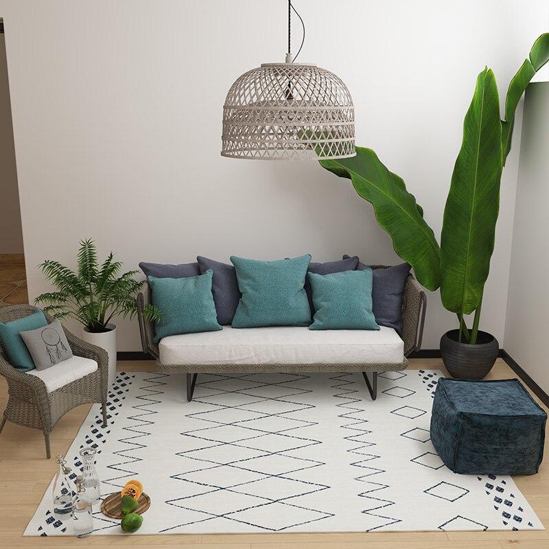 Tapis géométrique blanc beige style maroc, grande taille 140*200 cm salon tapis de table basse, tapis de décoration pastorale - 3