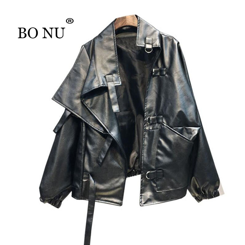 BONU Women Black PU Loose Jacket Streetstyle BF bomber jacket Coat Oversize Jacket jaqueta feminina Turn down Collar Coat