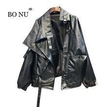 BONU Women Black PU Loose Jacket Streetstyle BF bomber jacket Coat Oversize Jacket jaqueta feminina Turn-down Collar Coat