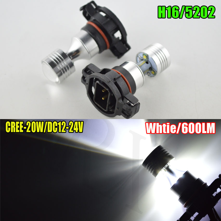 2pcs High Power 20W White LED 4SMD 5202 H16 PSX24W Canbus LED Bulbs Fog Lights Daytime Running Lights For Car 6000K 12-24VDC бра arte lamp sailor a4524ap 1wg