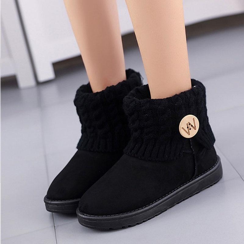 Classic flat plush ankle boots for women Australia black causal fur cotton snow boots Button warm women winter shoes DBT1068