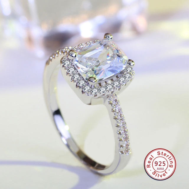 925 Sterling-Silver Halo Ring for bague Women CZ Crystal Wedding Engagement Ring