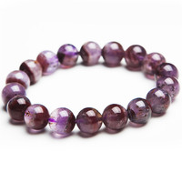 100% Natural Genuine Gems Stone Auralite 23 Purple Red Transparent 12mm Round Crystal Bead Charm Bracelet For Women