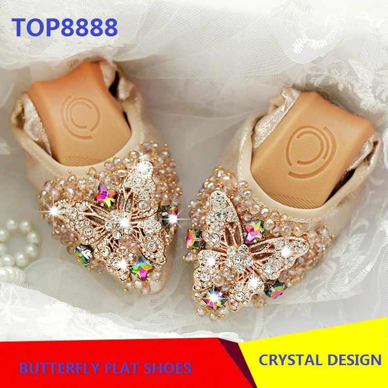 Rhinestone Point Toe Foldable Shoes Elegant Butterfly Designer Crystal Flat Shoes font b Woman b font