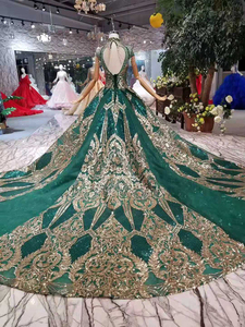Image 2 - LS11093 luxury green evening dresses ladies high neck cap sleeves crystal party dress with golden lace dubai style real photos