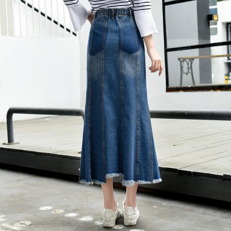 New Solid Wrap Waist Blue Jean Slim Womens 2019 High Plus Fit Long Streetwear Denim Size Mermaid Korean Skirts Casual wpxqaEzaS