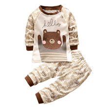 Hot Sale Children Clothing Set Long Sleeve O-neck Cotton Infant Boys Girls Cartoon Print Hoodie Tops Shirt+Pants Outfits Set M5(China)