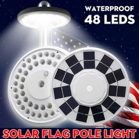 Waterproof 48 LED Outdoor Solar Power Flag Pole Lights Tent Lights Emergency Lamp Flashlight Hook Night Light For Camping White