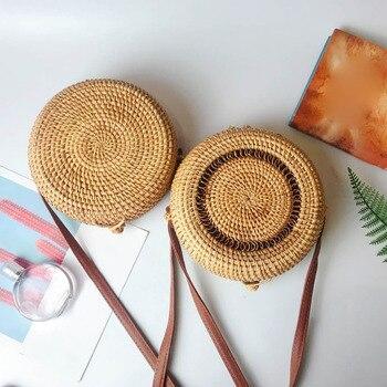 Fashion Explosion 2019 Straw Circle Bags Women Summer Handwoven Bali Round Retro Rattan Straw Beach New Casual Bag feminina