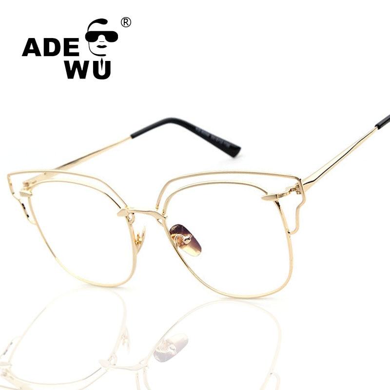 Adewu Marca Óptica Óculos De Armação de Metal Mulheres Olho de Gato Óculos  de Moda de alta qualidade Senhora Do Vintage óculos frames oculos de a7c6f49ac6