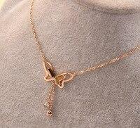 Gold Color Titanium Steel Hanging Diamante Bow Short Clavicle Chain Necklace Korean Female Summer F