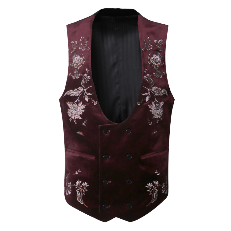 2017 Men new winter embroidery double breasted velvet vest men slim flower brand design banquet party stripe casual suit vest