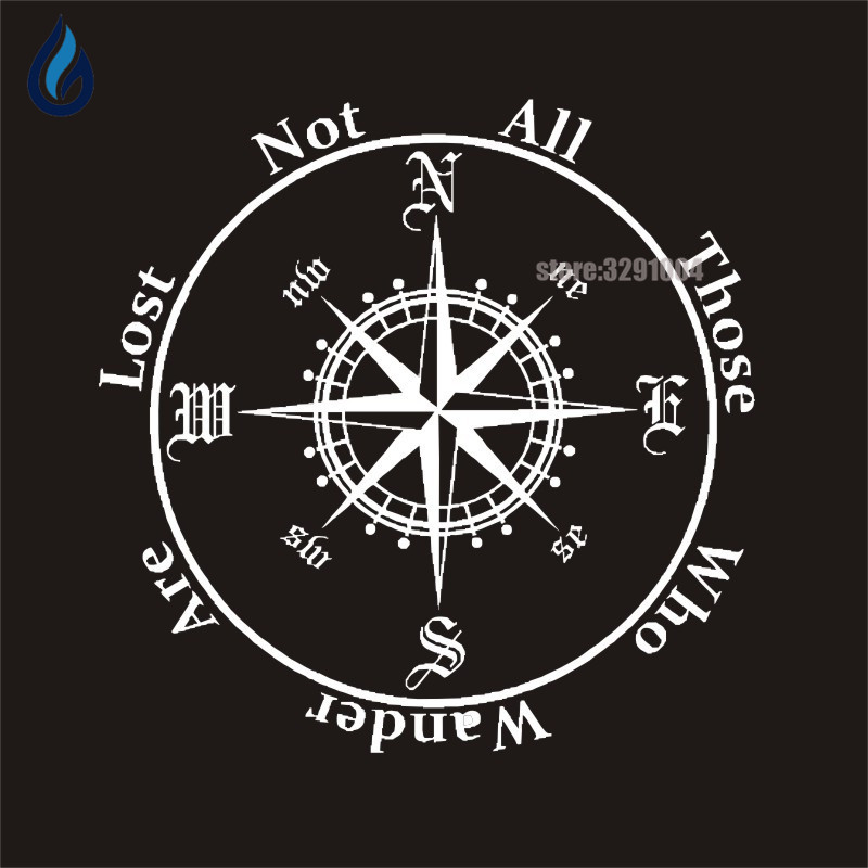 THOSE WHO WANDER ARE LOST NOT ALL Personalized Creative Car Sticker Compass Auto Body Decals For Honda Fit Citroen Vw Golf 5 KIA