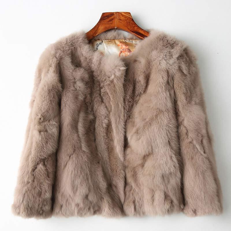 df36b77ca638 Genuine Full Pelt Fur Jacket Women's Design Rabbit Fur Coat Natural  Wholeskin Fur Coat O-
