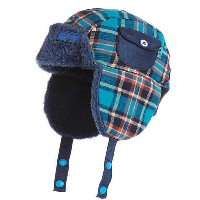 Kids Boys Girls Winter Fleece Plaid Bomber Hat with Ear Flap Children Baby  Warm Russian Trapper 63f1fdfedd7