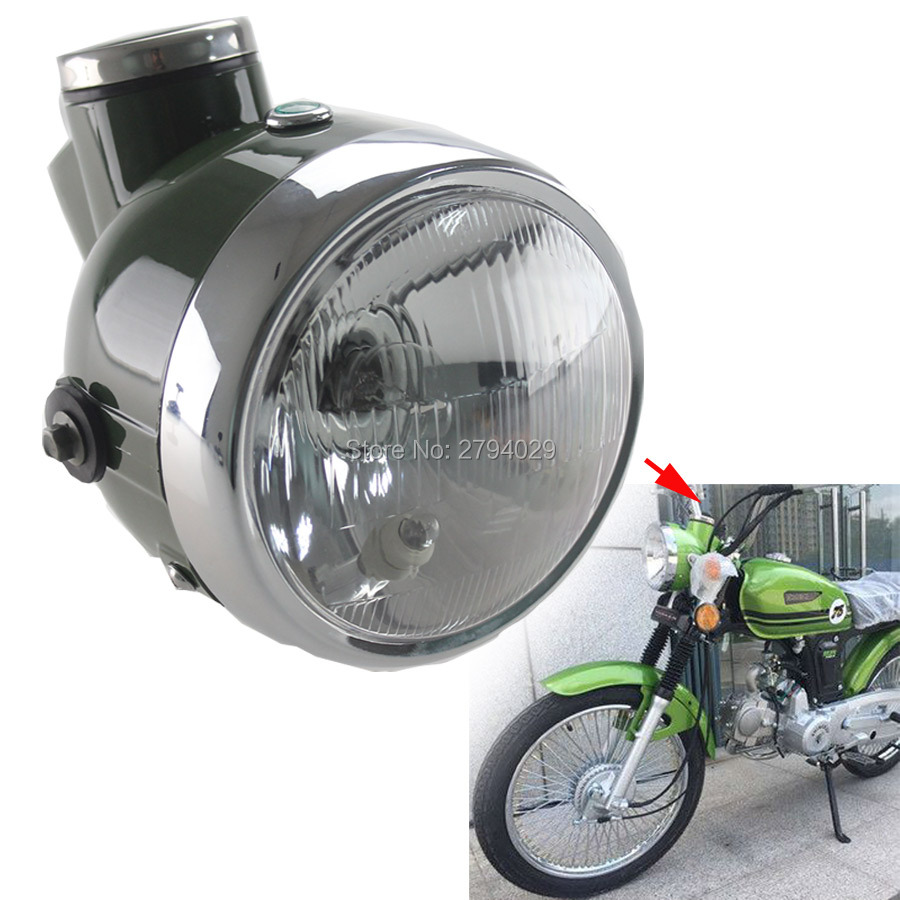 New Military Green Retro Headlight With Speedometer MPH