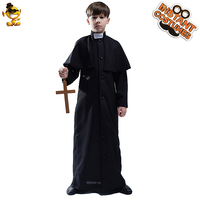 Boy's Priest Robe Costume Disguise Black Robe for Kid Christmas &Carnival Cosplay Costumes