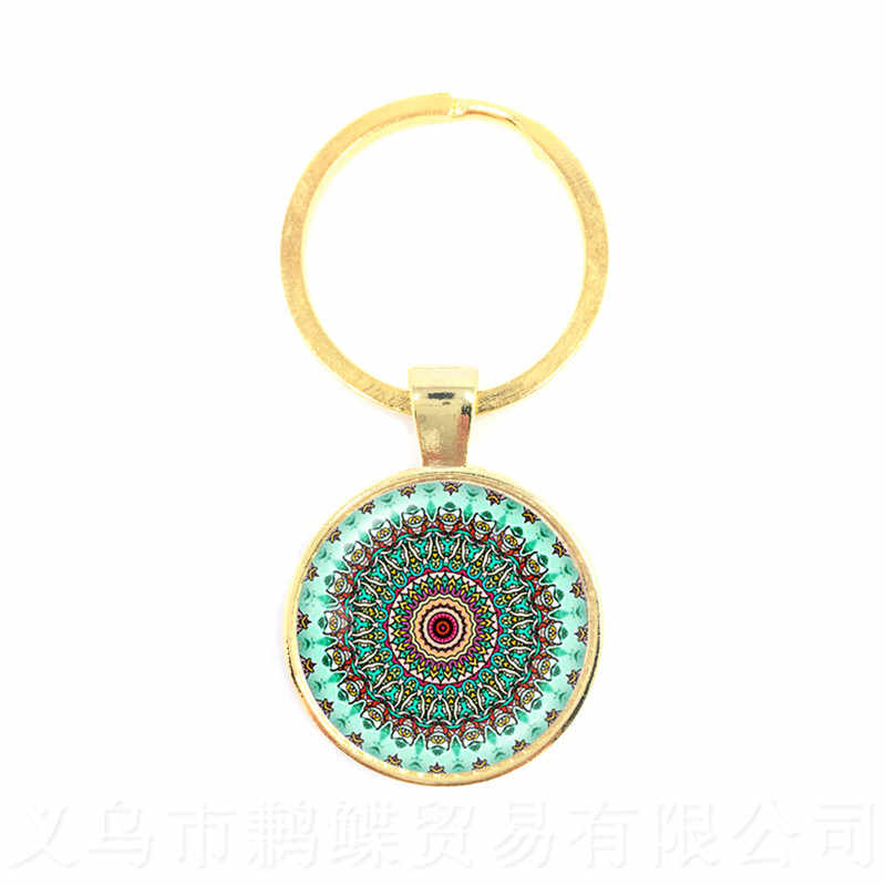Om Keychains Glass Cabochon Mandala Key Ring Buddhism Glass Dome Hindu Jewelry Yoga Key Holder Sri Lanka Gift