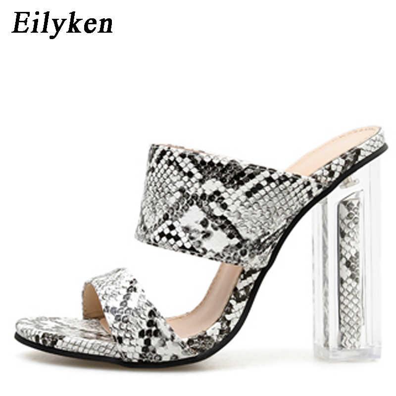 Eilyken Sexy Serpentina Mulheres Concisas Chinelos de PVC Claro e Transparente chunky saltos Stilettos 2019 Vestido Fetiche Sapatos de salto alto