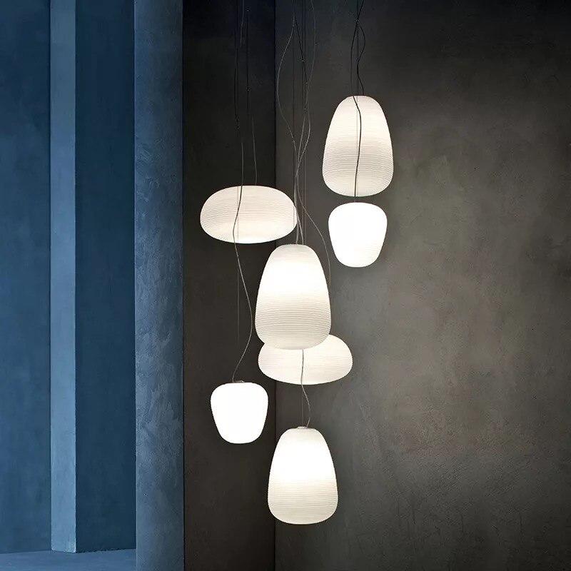 Белая стеклянная лампа, абажур, фойе, подвесные светильники для гостиничного зала, подвесные светильники для спальни, Подвесная лампа для б
