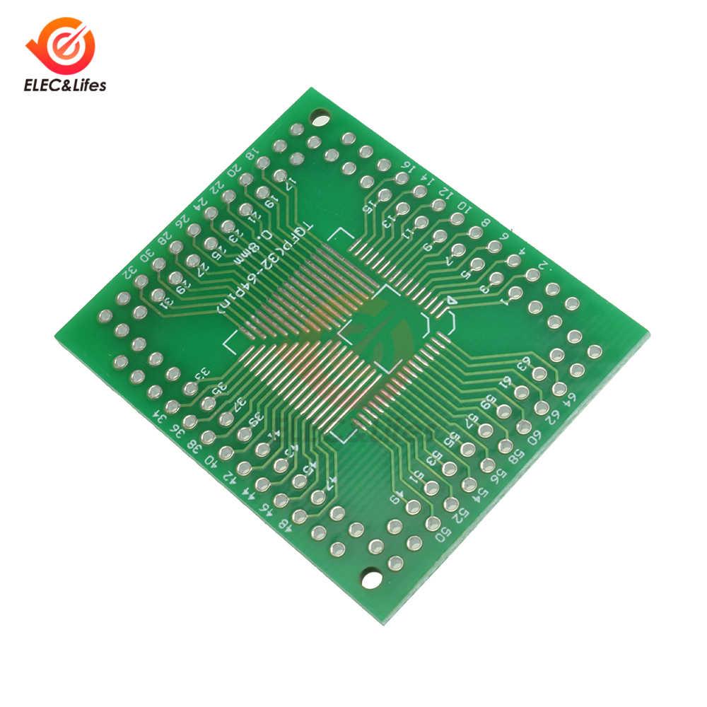 10 pces fqfp para dip adaptador placa pcb 32 44 64 80 100 pinos lqf smd placa de conversor de placa de circuito pcb dupla-lateral 0.5mm