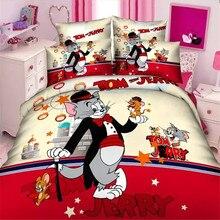 Accueil textile, populaire tom jerry garçons jumeaux/taille unique ensemble de literie de 2/3 pcs housse de couette drap de lit taie d'oreiller linge de lit ensemble