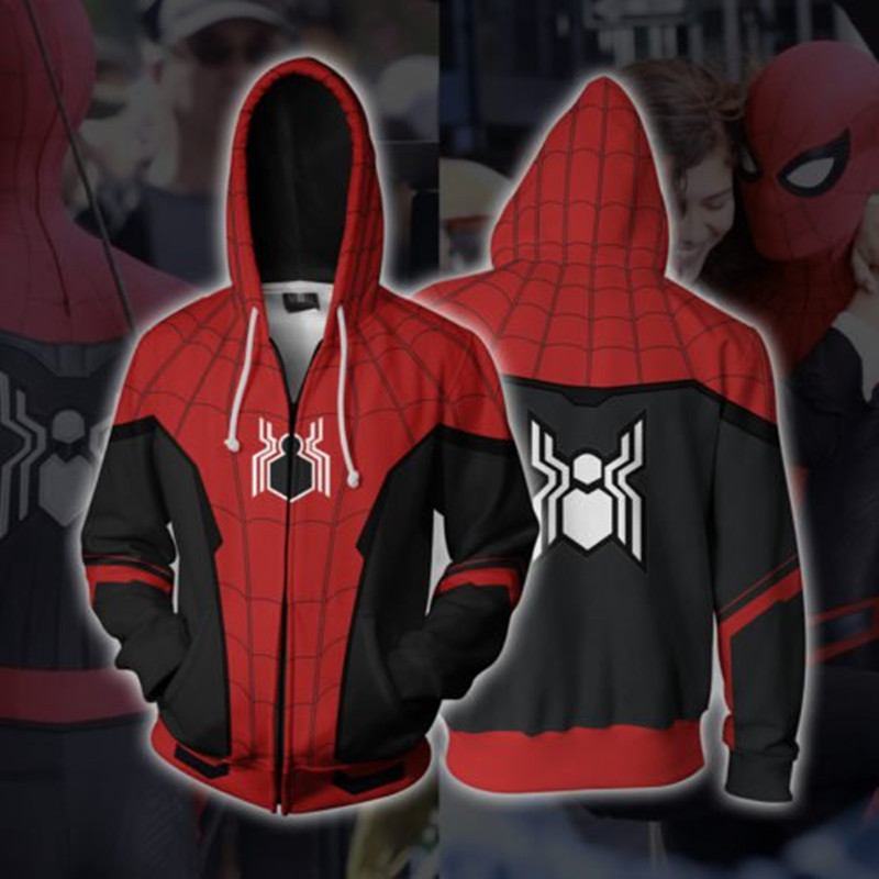 Spiderman Suits Sweatshirts Jacket Hoodies Pullover Unisex Hip-Hop-Coat Movie Zipper