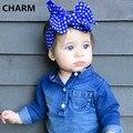 Bot bowknot del bebé de la Venda de La Muchacha gran arco de La Venda Infantil de la Venda linda Del Bebé Turbante de Algodón Mezcla Jersey Knit de la Venda de hairband