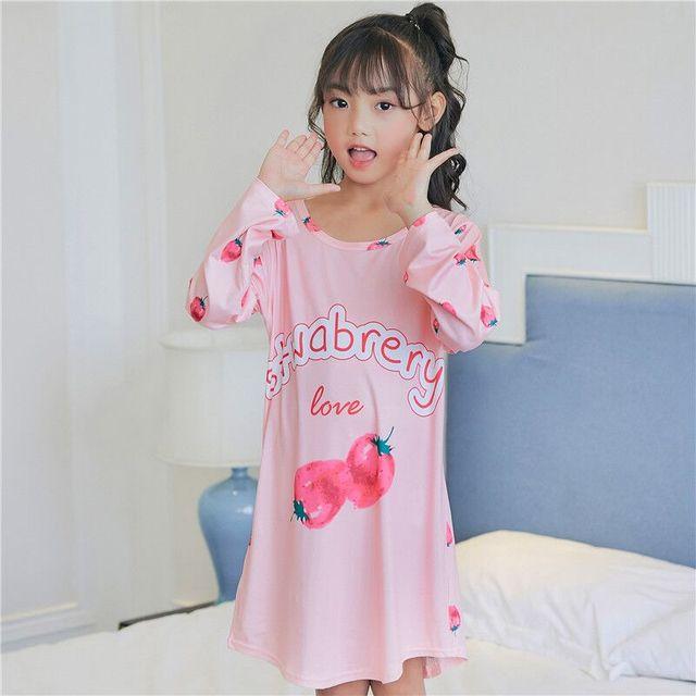Children dress girls long sleeved spring autumn nightdress Children s  Clothing girl Home sleepwear kids Robe Nightgowns e75bf97ed783
