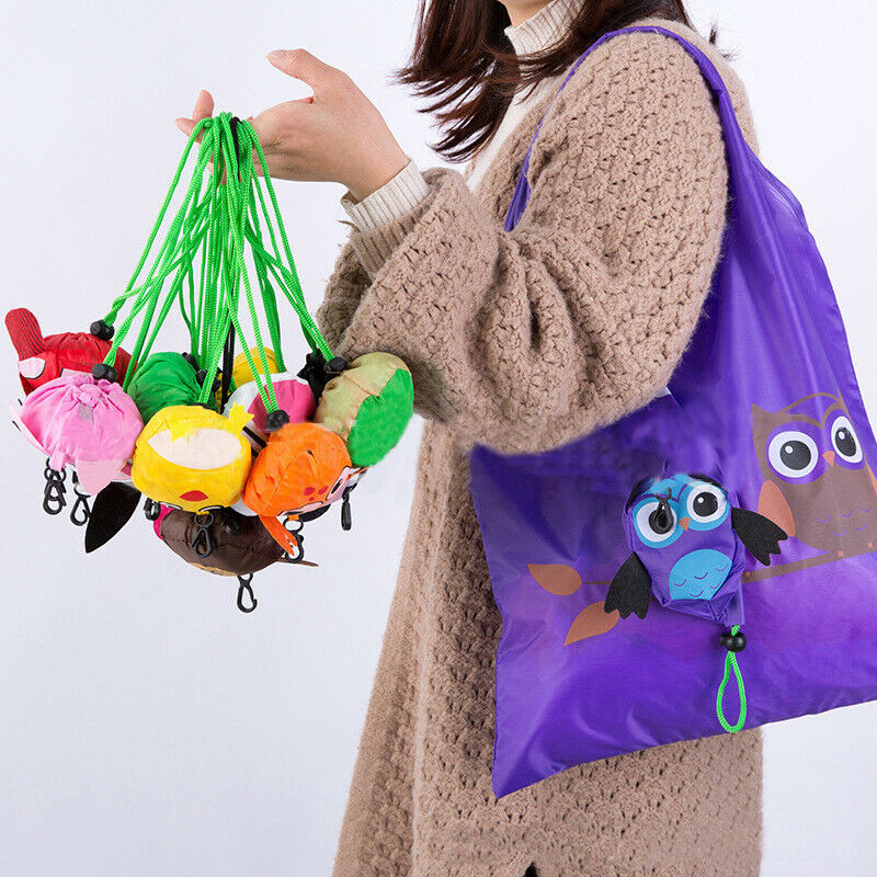 2019 New Arrival Reusable Foldable Ladies Shopping Bag Cartoon Animal Tote Handbag Folding Recycle Grocery Travel Shopping Bag