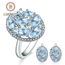 GEMS BALLET 11.40ct Oval Natural Sky Blue Topaz Jewelry Set 925 Sterling Silver Earrings Ring Set Gemstone Jewelry For Women