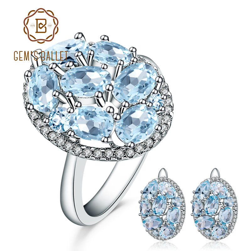 GEM'S BALLET 11.40ct Oval Natural Sky Blue Topaz Jewelry Set 925 Sterling Silver Earrings Ring Set Gemstone Jewelry For Women