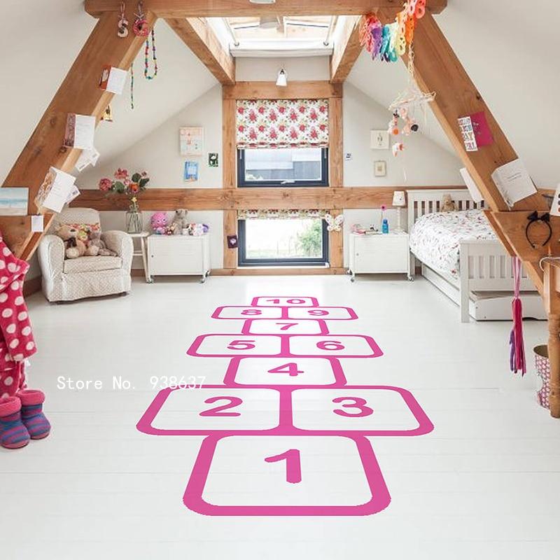 hopscotch autocollant de sol en vinyle autocollant pour les chambres d enfants decoration de la maison amovible de salle de jeu autocollants