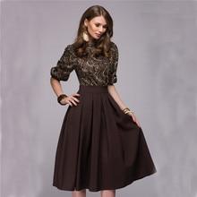 OYDDUP New Fashion Printed Stitching Pleated Dress