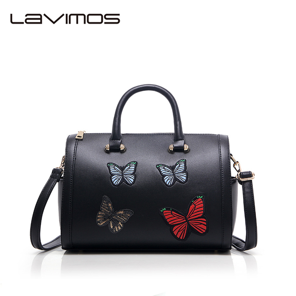 Women's Boston Bag New European Boston Handbag Butterfly Embroidery Women Messen