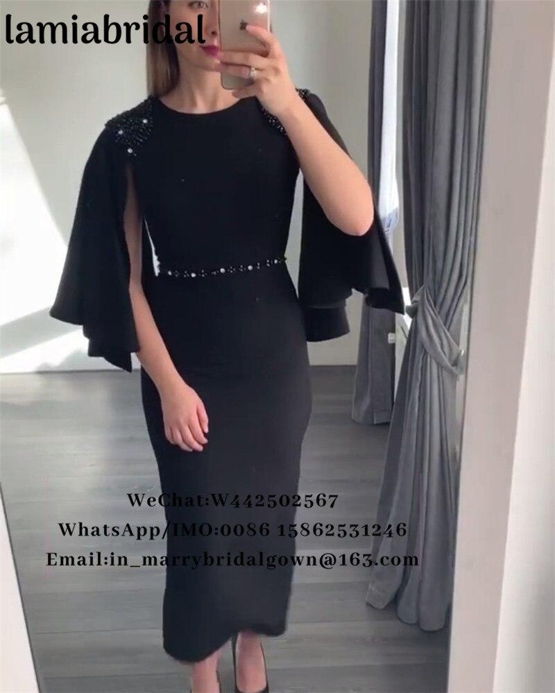 Caped thé longueur pas cher robes De soirée 2019 Abendkleider grande taille perlée Vestidos De Fiesta formelle célébrité bal robes De soirée
