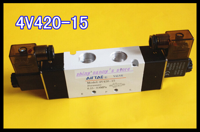 1Pcs 4V420-15 AC220V 5Ports 2Position Double Solenoid Pneumatic Air Valve 1/2 BSPT 1pcs 4v110 06 ac220v lamp solenoid air valve 5port 2position bsp
