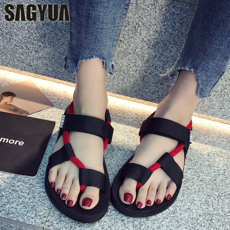 Simple Summer Sandales Women Mujer Fashion Casual Roman Gladiator Soft Sole Sandals Ankle Flip-Flops Thong Sandalias Shoes T598