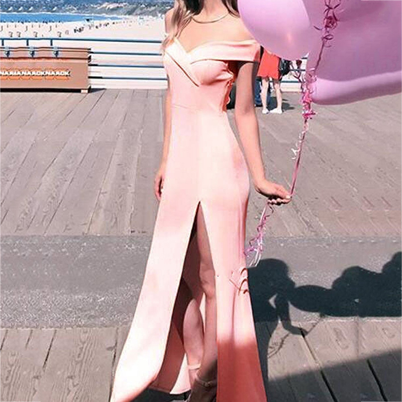 2018 African Sexy Cap Sleeve Backless Sheath   Bridesmaid     Dresses   Simple Side Split Pink Long Party Gowns Prom   Dress   Custom Made