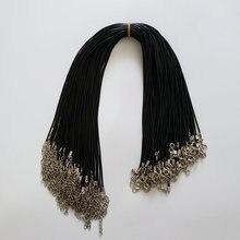Hurtownie 100 sztuk/partia 1.5mm czarny wosk Leather cord rope naszyjniki 45cm z zapięciem Lobster smycz wisiorek liny dla diy biżuteria