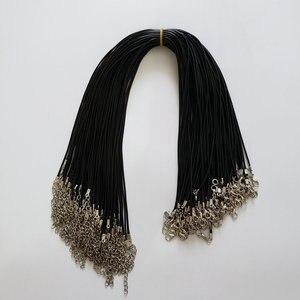 Image 1 - Toptan 100 adet/grup 1.5mm siyah balmumu deri kordon halat kolye 45cm istakoz toka ile kordon kolye kabloları diy takı