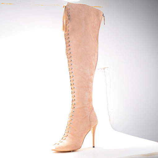 Over-The-Knee Suede Leather Woman Stiletto Heels High Boots Peep Toe Solid Lace-Up Handmade Big Size Shoe Women Boots Real Photo
