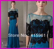 Elegant One Piece Half Sleeve Lace Chiffon Long Mother of the Bride Dresses Gowns M1412