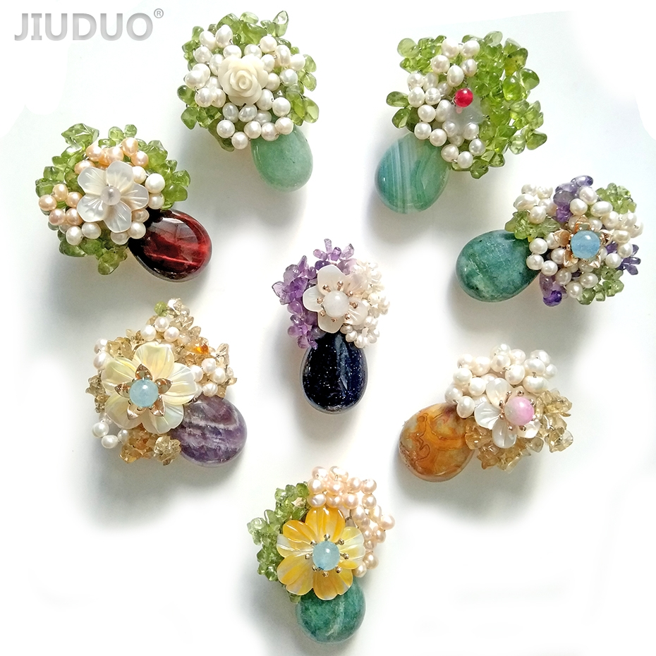 Handmade brooch with flower natural gemstone brooch clothing decoration недорго, оригинальная цена