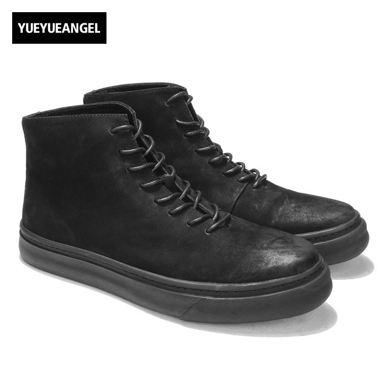 British Retro Men Cow Suede Leather Motorcycle Biker Ankle Boots Fashion Round Toe Platform High Top Casual Shoes Safety Boots new british style real top cow leather boots qshoes mens business dress casual fashion men personalized round toe boot y97 663