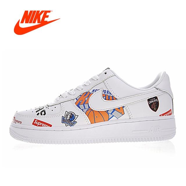 9c907db6 Оригинальный Новое поступление Аутентичные Nike Air Force 1 AF1 X Supreme X  NBA Мужские Скейтбординг обувь