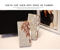 New Fashion Design Bling 3D Rhinestone Diamond Filp Wallet Leather Case For Iphone 5 5S Luxury